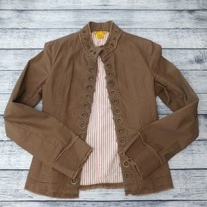 Chocolate brown distressed canvas military jacket